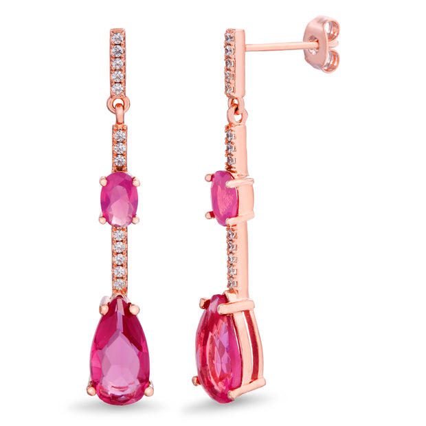 Pear and Round Shaped Prong Set Simulated Tourmaline and Cubic Zirconia Linear Drop Dangle Bridal Earring for Women in Rose Gold Plated 925 Sterling Silver