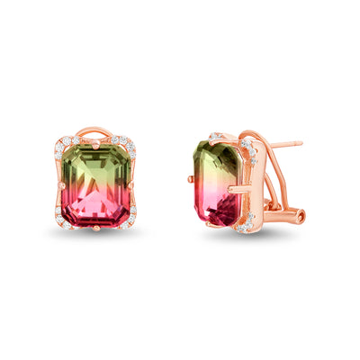 Emerald Cut Prong Set Simulated Watermelon Tourmaline and Round Cubic Zirconia Stud Bridal Earring for Women with Omega Back in Rose Gold Plated 925 Sterling Silver