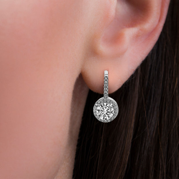6mm Cubic Zirconia Stud/Halo/Lever Back Trio Earring Set in Rhodium Plated Sterling Silver
