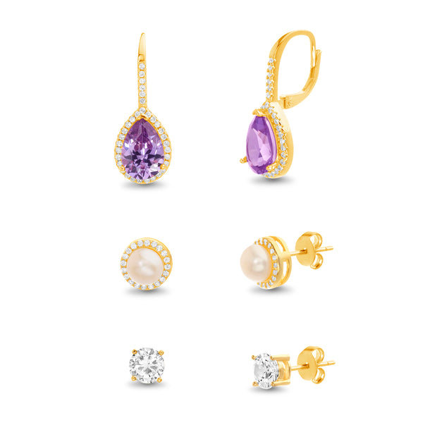 Pear and Round Shaped Cubic Zirconia Stud and Leverback Earring Set in Yellow Gold Plated Silver