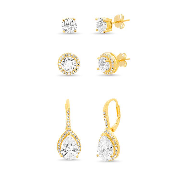 Pear and Round Shaped Prong Set Cubic Zirconia Halo Style Stud and Leverback Bridal Earring Set for Women in Yellow Gold Plated 925 Sterling Silver