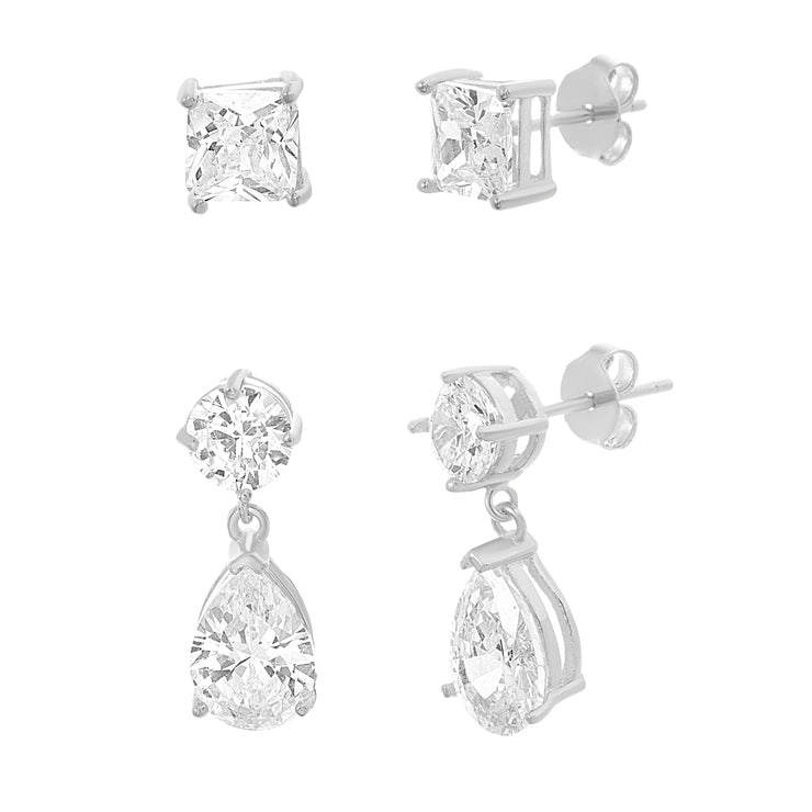 Cubic Zirconia Stud and Drop Earring Set in Sterling Silver