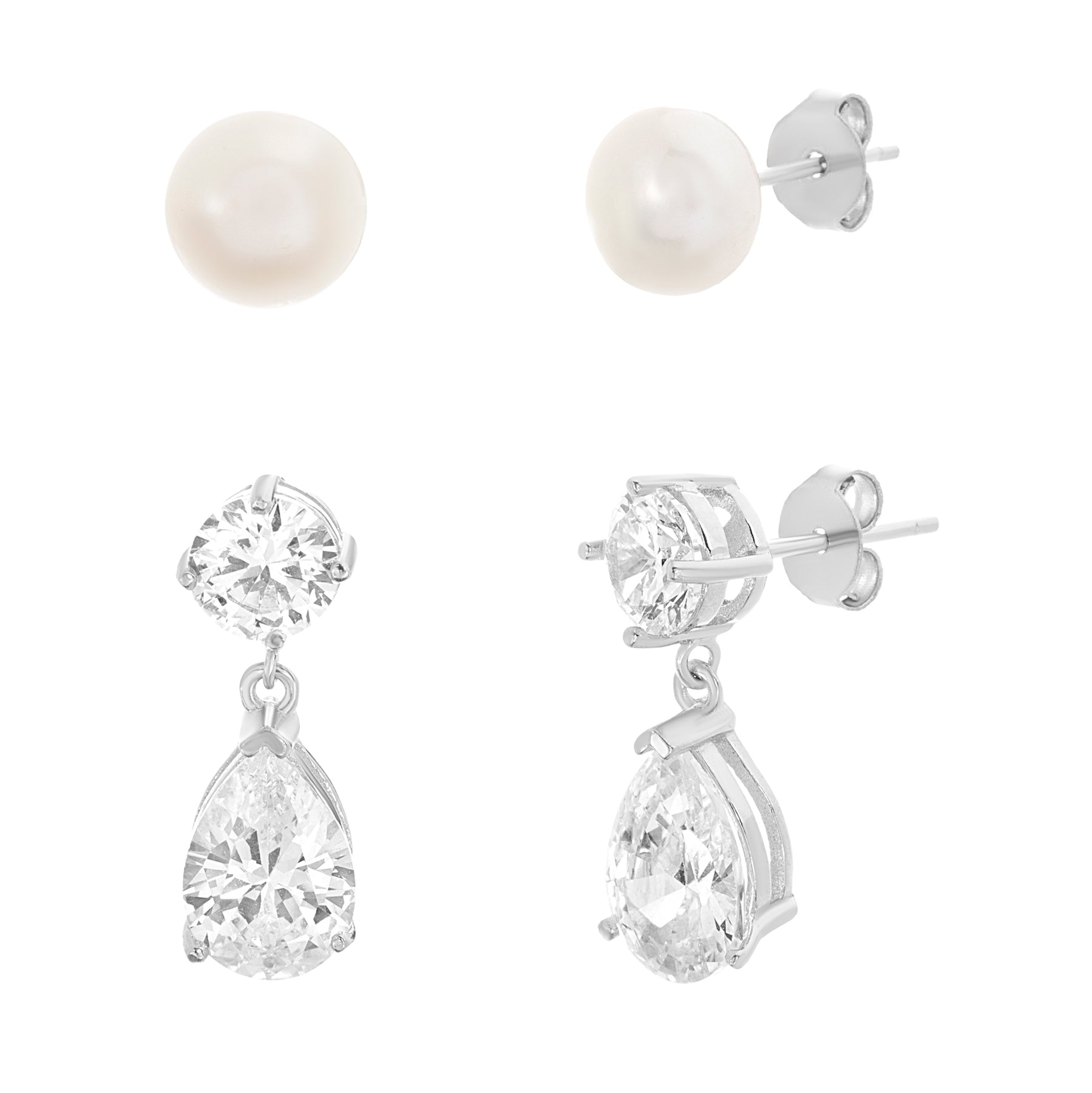 925 Sterling Silver Rhodium-plated 5-6mm White Round Freshwater Cultured Pearl /& CZ Hoop Earrings