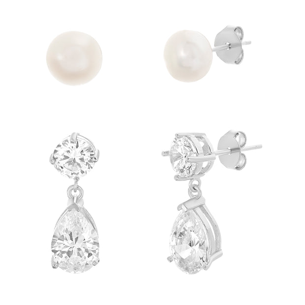 Cultured Freshwater Pearl and Cubic Zirconia Stud Earring Set in Rhodium Plated Sterling Silver