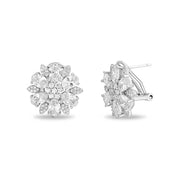 Oval and Round Cut Prong Set Cubic Zirconia Flower Shaped Stud Bridal Earring for Women  with Omega Back in Rhodium Plated 925 Sterling Silver