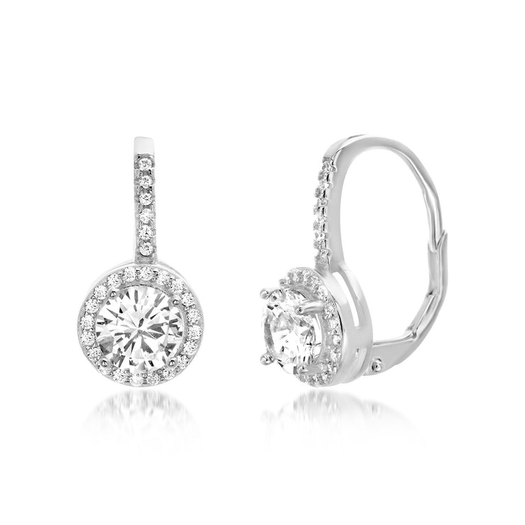Cubic Zirconia Round Leverback Halo Drop Earrings in Sterling Silver