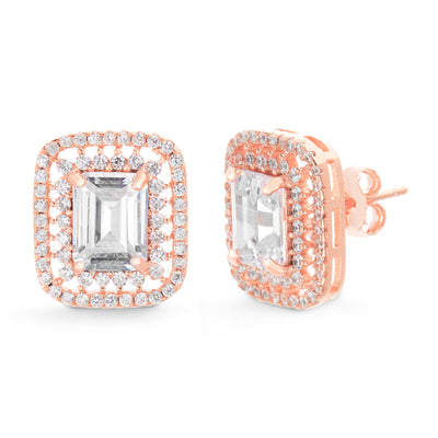 Emerald Cut Prong Set Cubic Zirconia Stud Bridal Halo Earring for Women in Rose Gold Plated 925 Sterling Silver