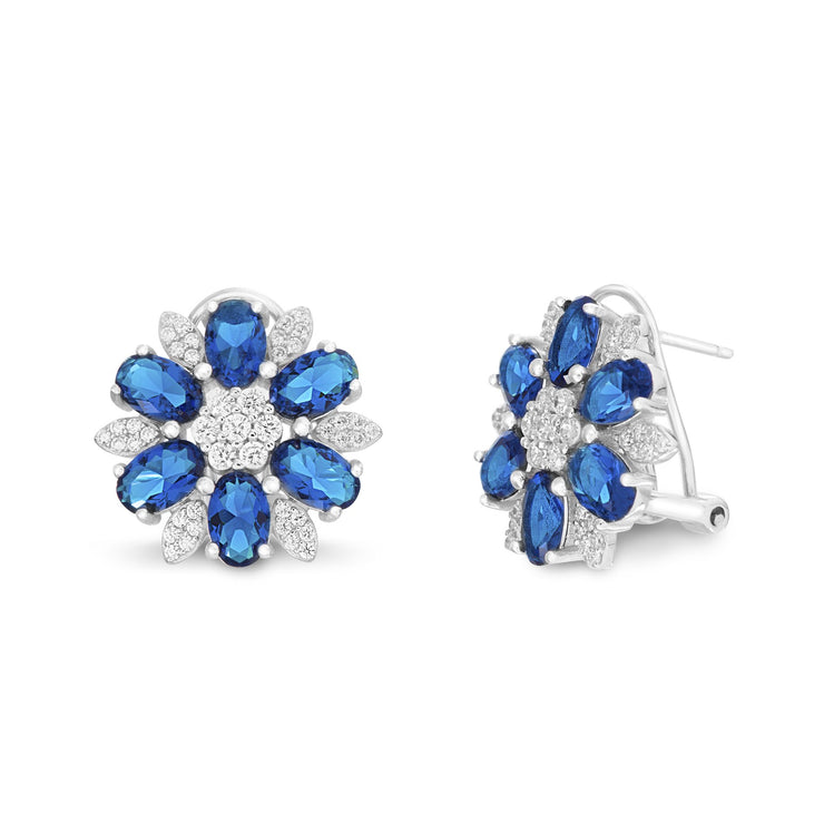 Cubic Zirconia or Simulated Blue Sapphire Flower Shaped Stud Earring with Omega Back in Rhodium Plated Silver