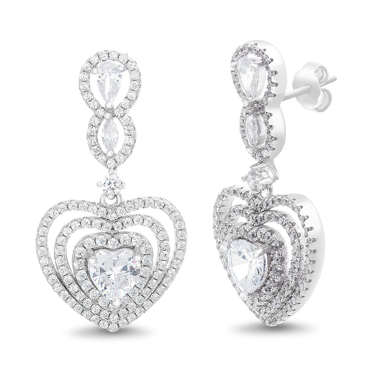Heart Shaped Prong Set Cubic Zirconia Drop Dangle Bridal Halo Earring for Women in Rhodium Plated 925 Sterling Silver