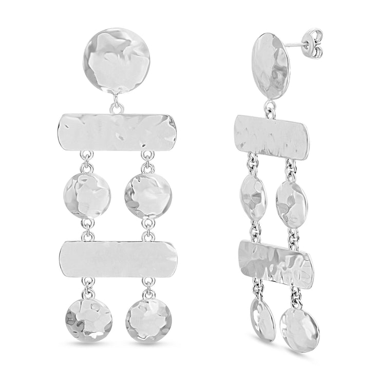 Sterling Silver Hammered Finish Geometric Chandelier Earrings