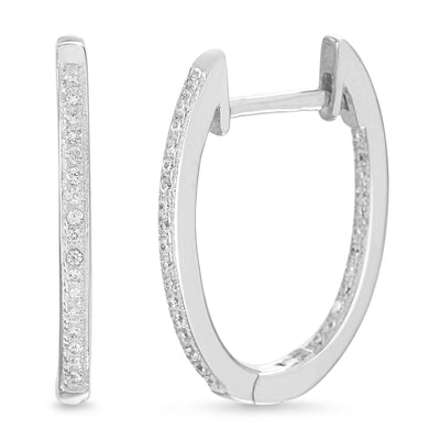 Cubic Zirconia Inside Outside Huggie Hoop Earrings in Rhodium Plated Sterling Silver