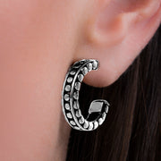 Oxidized Sterling Silver Half Hoop Beaded Post Earrings
