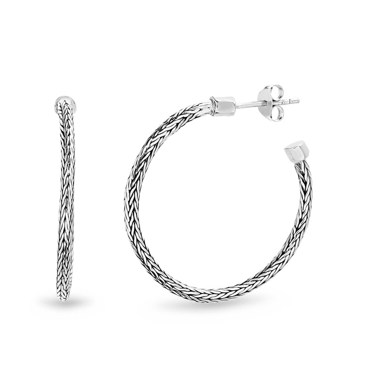 Byzantine Textured C-Hoop Sterling Silver Hoop Earrings