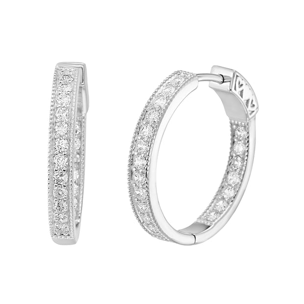 Cubic Zirconia 19mm Inside Outside Hoop Earrings with Milgrain in Rhodium Plated Sterling Silver