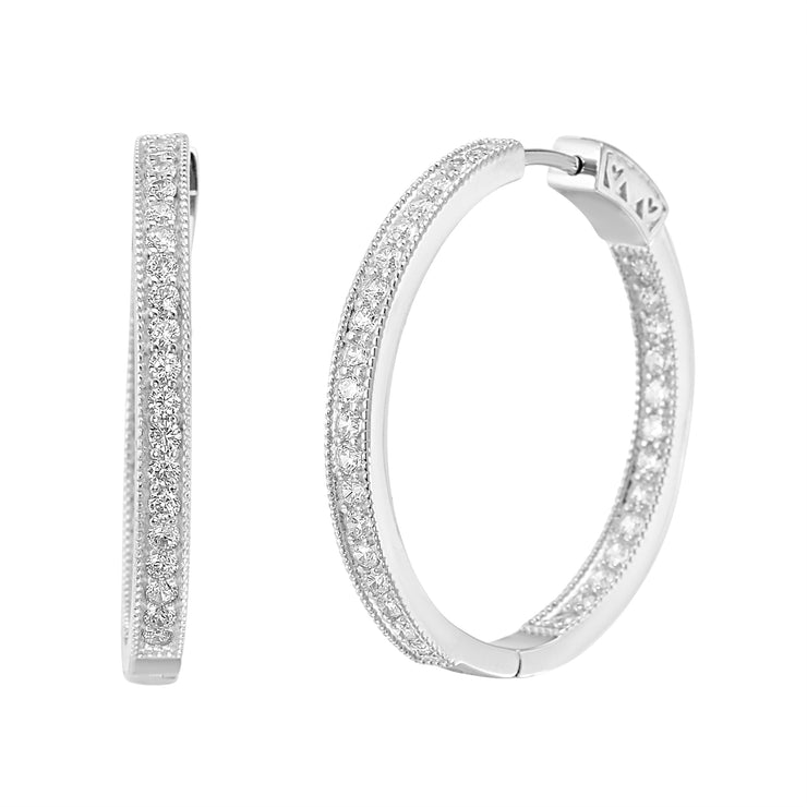 Cubic Zirconia 35mm Inside Outside Hoop Earrings with Milgrain in Rhodium Plated Sterling Silver