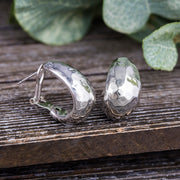 """J""- Shape Hammered Omega Earrings in Polished Sterling Silver"