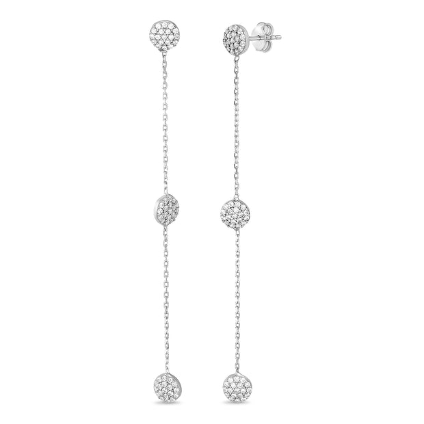 Cubic Zirconia Station Chain Linear Earrings in Rhodium Plated Sterling Silver