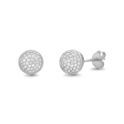 Cubic Zirconia 6mm Pave Ball Stud Earrings in Rhodium Plated Sterling Silver