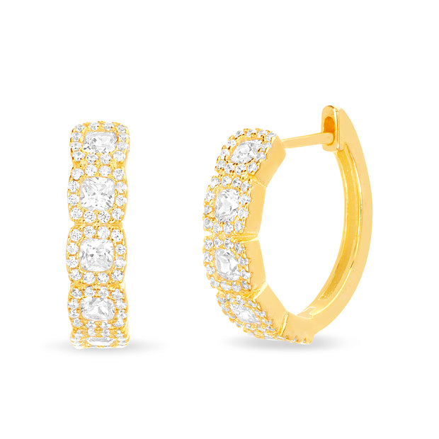 Round Prong Set Cubic Zirconia Hoop Bridal Halo Earring for Women in Yellow Gold Plated 925 Sterling Silver