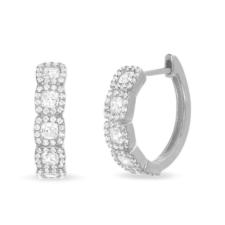 Round and Princess Cut Cubic Zirconia Halo Hoop Earrings in Sterling Silver