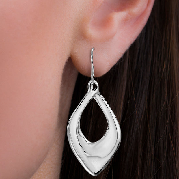 High Polished Sterling Silver Drop Twist Earrings