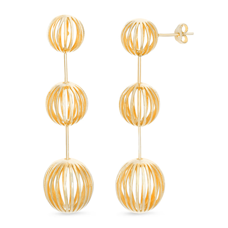 Yellow Gold Plated Sterling Silver Graduated Cage Ball Drop Earrings