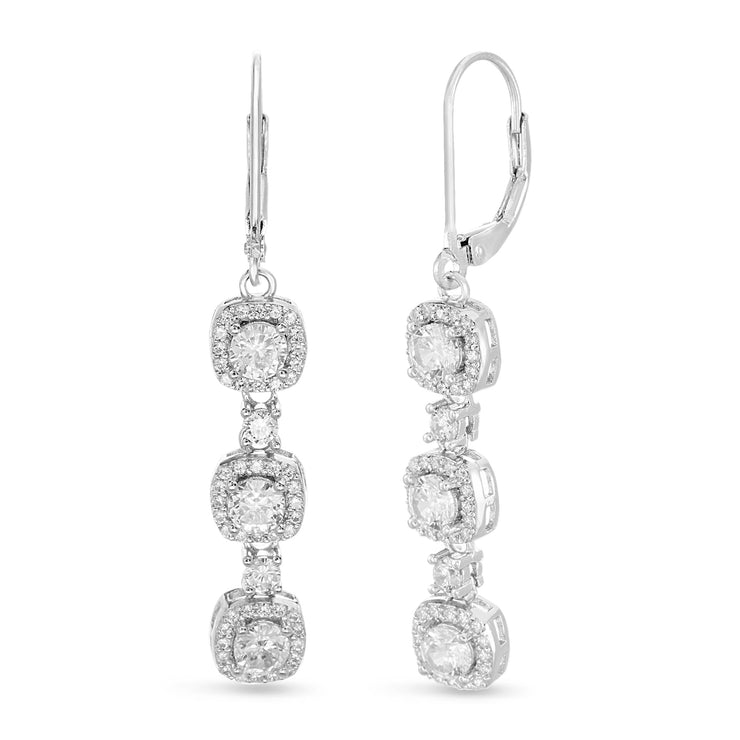 Round Prong Set Cubic Zirconia Drop Dangle Bridal Leverback Halo Earring for Women in Rhodium Plated 925 Sterling Silver