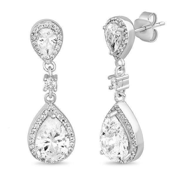 Cubic Zirconia Teardrop Dangle Earrings in Rhodium Plated Sterling Silver