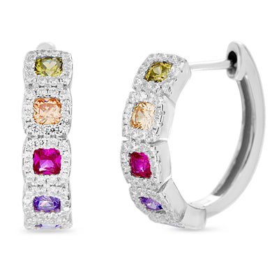Rainbow Cubic Zirconia Huggie Hoop Earring in Rhodium Plated Sterling Silver