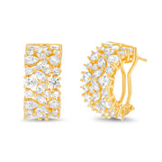 Fancy Cut Prong Set Cubic Zirconia Hoop Bridal Earring for Women  with Omega Back in Yellow Gold Plated 925 Sterling Silver