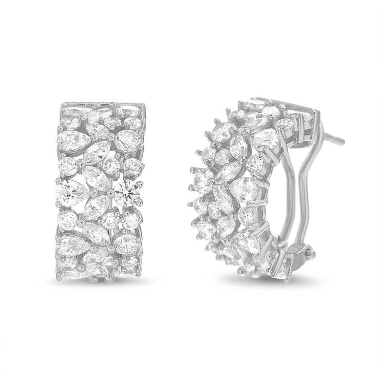 Fancy Cut Cubic Zirconia Hoop Earring with Omega Back in Yellow Gold or Rhodium Plated Silver