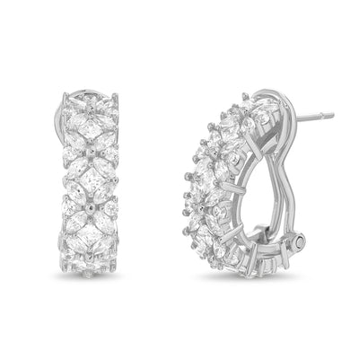 Fancy Cut Prong Set Cubic Zirconia Flower Pattern Hoop Bridal Earring for Women with Omega Back in Rhodium Plated 925 Sterling Silver