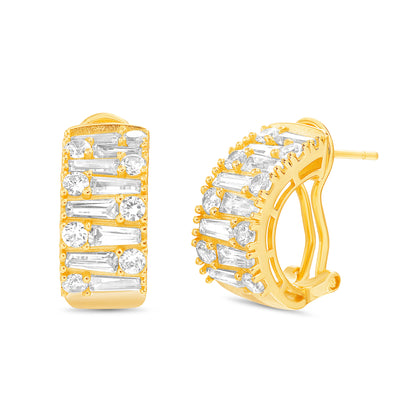 Baguette and Round Shaped Prong Set Cubic Zirconia Hoop Bridal Earring for Women with Omega Back in Yellow Gold Plated 925 Sterling Silver