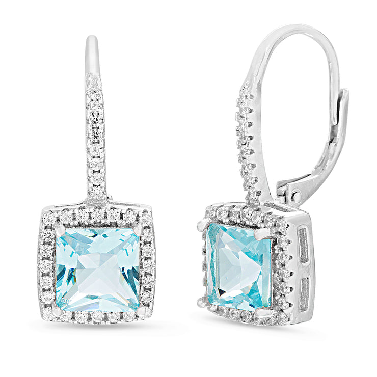 Cushion Shaped Prong Set Simulated Aquamarine and Cubic Zirconia Drop Dangle Bridal Leverback Halo Earring for Women in Rhodium Plated 925 Sterling Silver