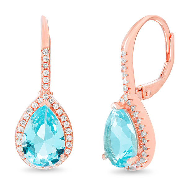 Pear and Round Shaped Prong Set Simulated Aquamarine and Cubic Zirconia Drop Dangle Bridal Leverback Halo Earring for Women in Rose Gold Plated 925 Sterling Silver