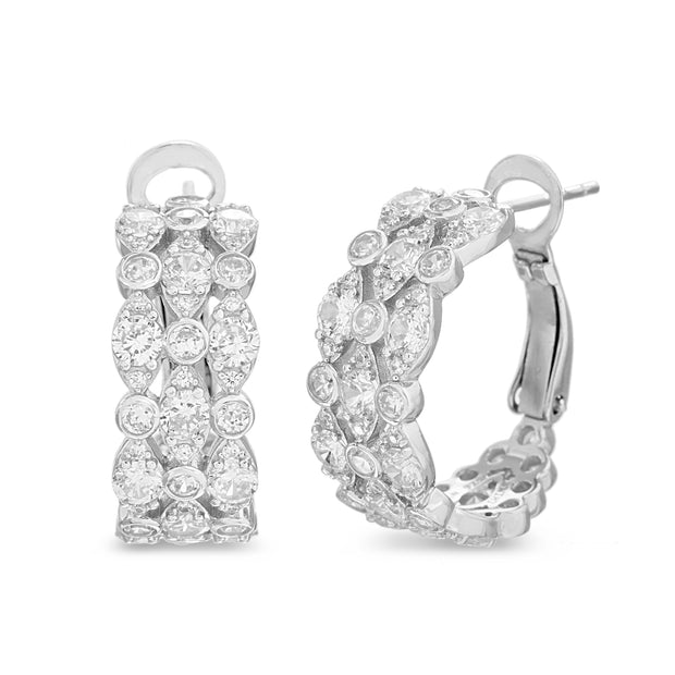 Fancy Cut Bezel Set Cubic Zirconia Hoop Bridal Earring for Women in Rhodium Plated 925 Sterling Silver