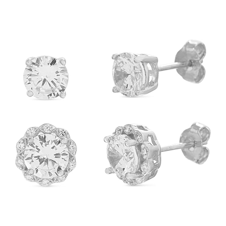 Round Prong Set Cubic Zirconia Antique Style Stud Bridal Earring Set for Women in Rhodium Plated 925 Sterling Silver