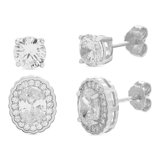 Antique Style Cubic Zirconia Oval Halo Stud Set in Rhodium Plated Sterling Silver