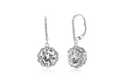 Round Prong Set Cubic Zirconia Antique Style Halo Leverback Drop Dangle Bridal Earring for Women in Rhodium Plated 925 Sterling Silver