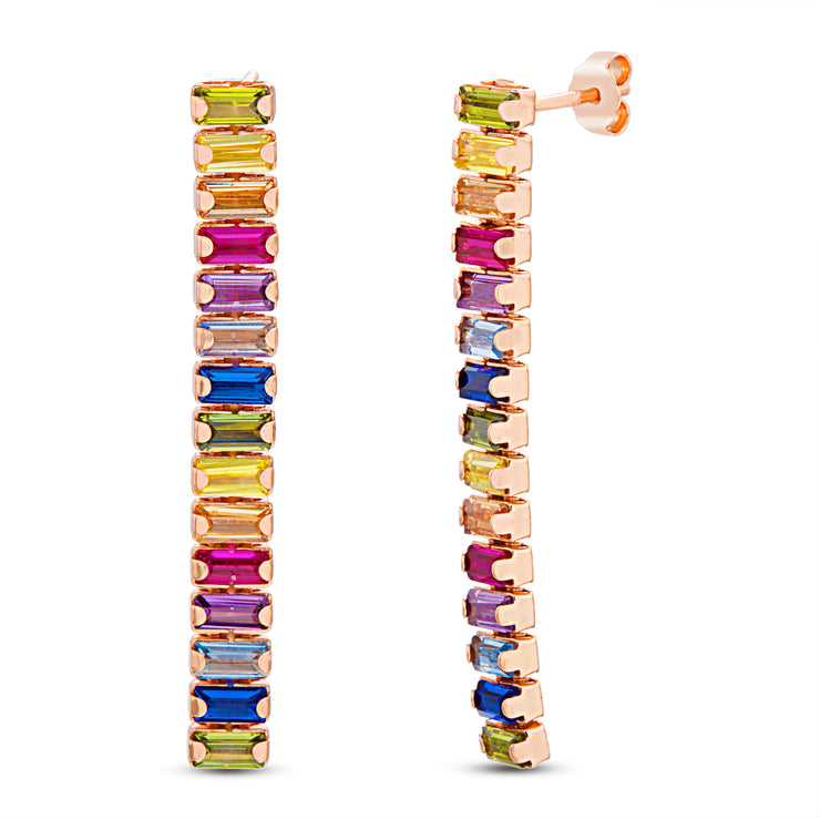 Rainbow Baguette Cubic Zirconia Linear Earrings in Sterling Silver