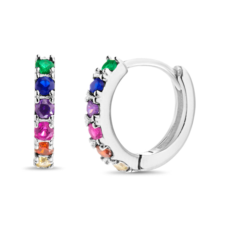 Rainbow Cubic Zirconia Hoop Earrings in Sterling Silver