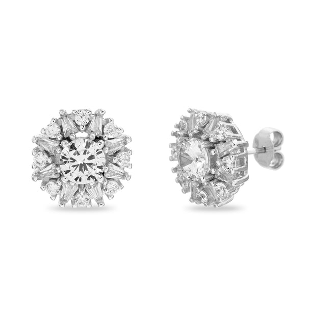 Cubic Zirconia Round Fancy Halo Stud in Rhodium Plated Sterling Silver