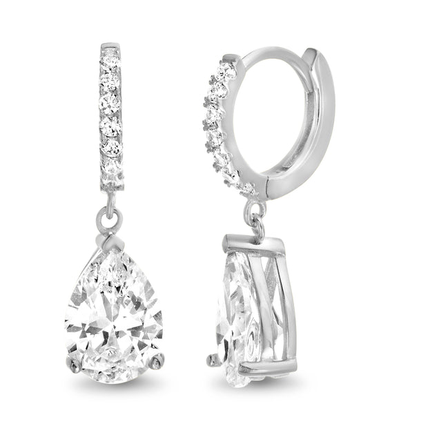 Pear Shaped Cubic Zirconia Teardrop Dangle Huggie Hoop Earring in Sterling Silver