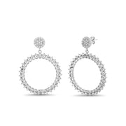 Cubic Zirconia Open Shape Dangle Earrings in Rhodium Plated Sterling Silver