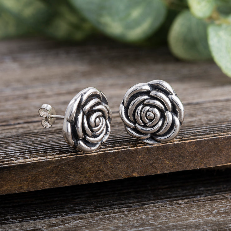 Oxidized Rose Design Stud Post Earrings in Sterling Silver