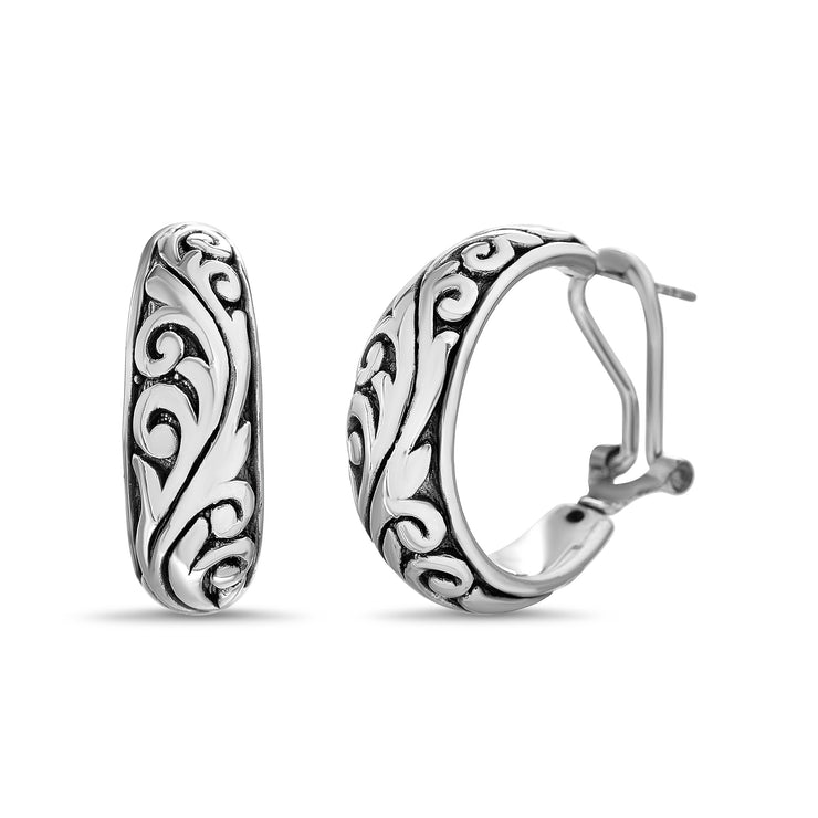 Sterling Silver Hoop Earrings with Omega Backs and Filgree Details