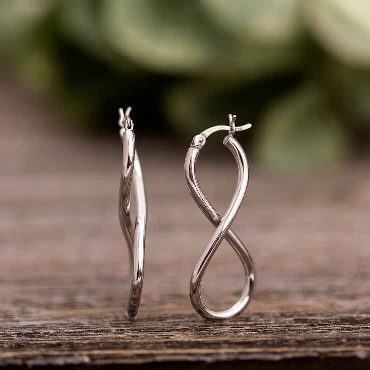 High Polished Sterling Silver Infinity Hoop Earrings