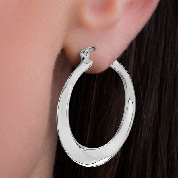 High Polished Sterling Silver Hoop Earrings