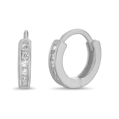 Channel Set Cubic Zirconia Extra Small Hoop Earrings in Rhodium Plated Sterling Silver
