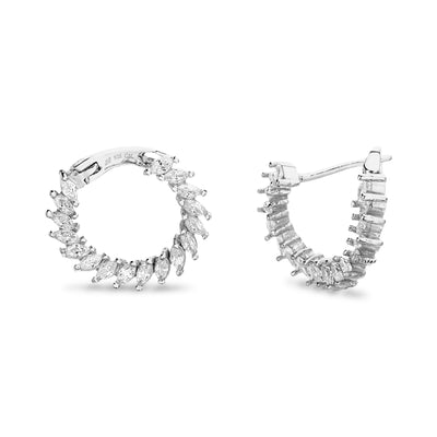 Marquise Cubic Zirconia Front to Back Hoop Earrings in Rhodium Plated Sterling Silver